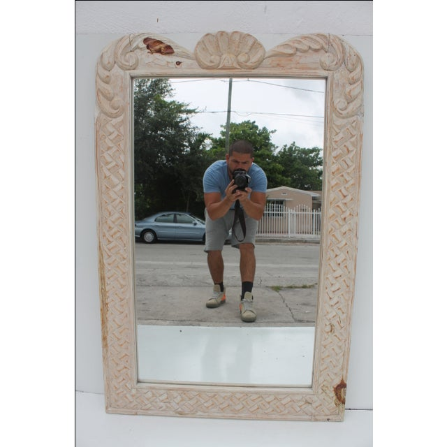 Hollywood Regency Hand Carved Wall Mirror For Sale - Image 10 of 10