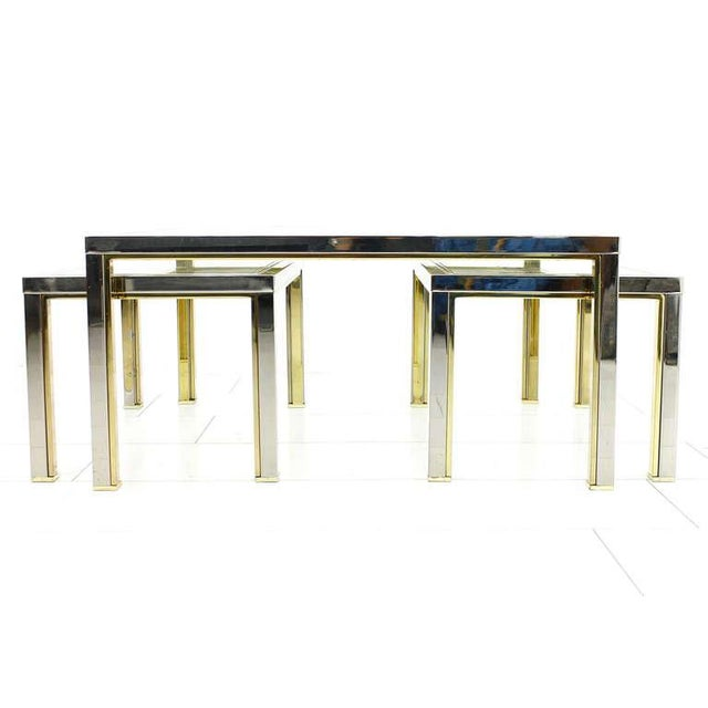 Set of Three Tables, Glass and Metall, France 1970`s For Sale - Image 4 of 8