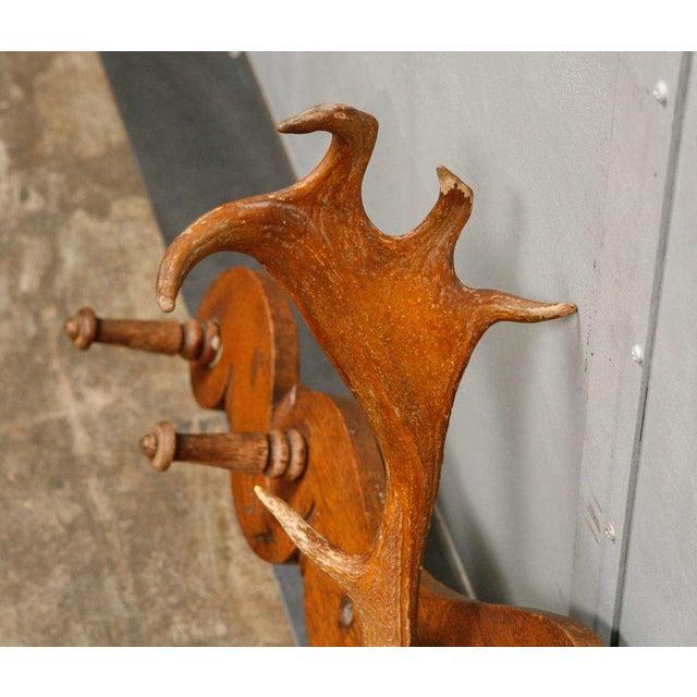 Victorian Carved Oak and Antler Coat/Hat Rack - Image 4 of 8