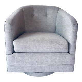 1970's Woven Upholstered Swivel Lounge Chair by Milo Baughman For Sale