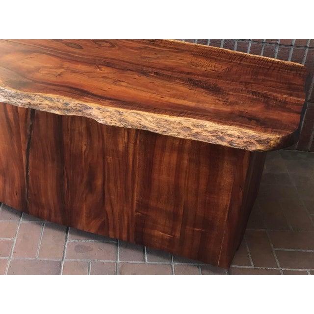 Brown 1970s Primitive Wood Slab Executive Desk For Sale - Image 8 of 10