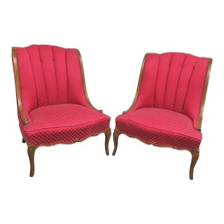 Louis XV Style Fanback Slipper Chairs- a Pair For Sale