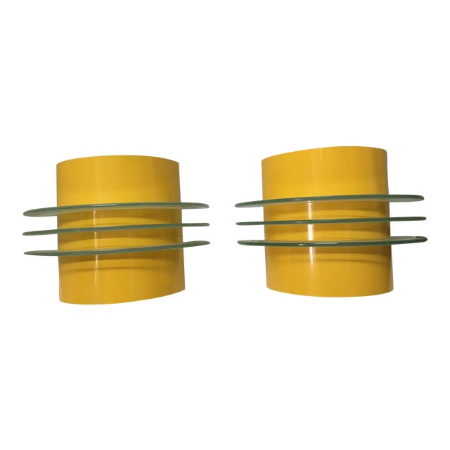 Mid-Century Art Deco Wall Sconces - A Pair | Chairish
