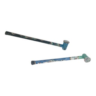 Persian Decorative Opium Metal Pipes Hand Painted For Sale