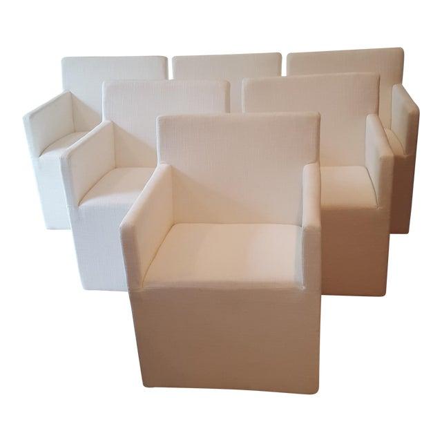 Restoration Hardware Modern New Ellison Track Arm Dining Chairs - Set of 6 For Sale