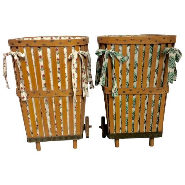 Antique 1920s Wood Baskets on Wheels - Image 1 of 9