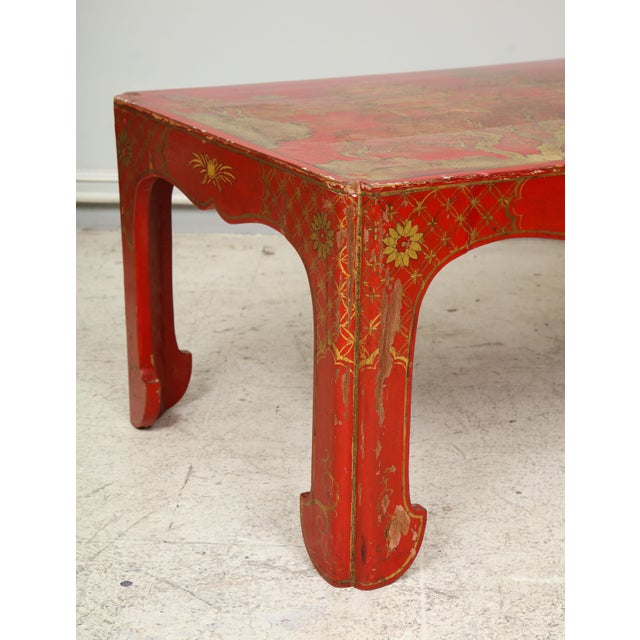 1940s Vintage Hand Painted Red Lacquered Chinoiserie Cocktail/Coffee Table For Sale - Image 5 of 11