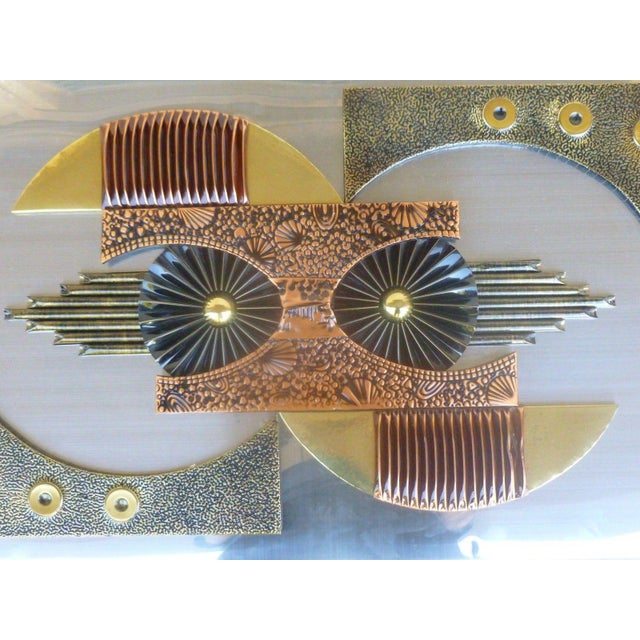 1970s Mid-Century 1970's Brutalist Mixed Metal Wall Plaque For Sale - Image 5 of 8