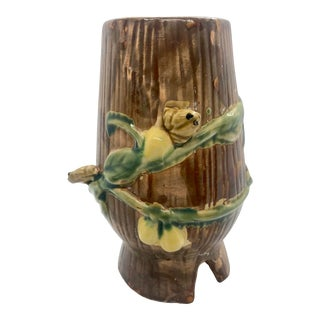 1940s Majolica Vase With Lemons and Frogs For Sale