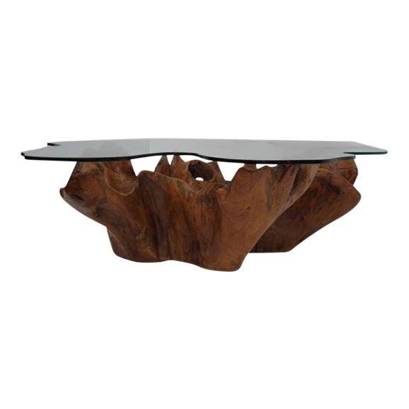 Teak Root Coffee Tables: Excellent Stunning Vintage Teak Root Coffee Table With Custom Cut Glass Top