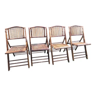 Mid Century Bamboo Folding Chair Set of 4 For Sale