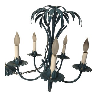 1960s Faux Bamboo Palm Frond Chandelier For Sale