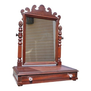 Antique Chippendale Style Dresser Top Shaving Mirror Stand Vanity Jewelry Box For Sale