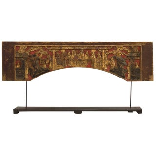 Antique Chinese Temple Wooden Carving With Black Stand For Sale