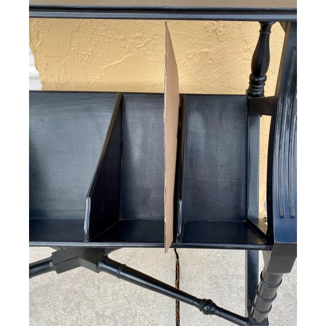 Vintage Distressed Black Open Storage French Console Table Wood For Sale - Image 12 of 12
