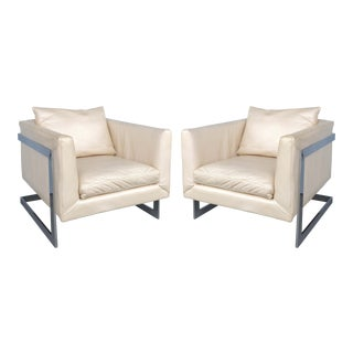 Midcentury Milo Baughman Cantilevered Chrome & Ivory Leather Club Chairs - a Pair For Sale