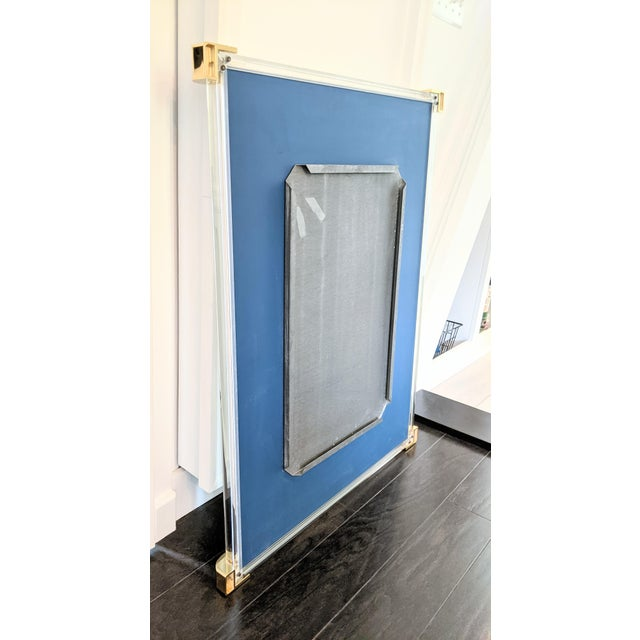 Vintage 1970s Lucite Framed Wall Mirror With Brass Corner Details For Sale - Image 4 of 8