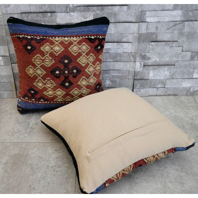 Vintage Turkish Kilim Pillow Covers - A Pair - Image 4 of 5