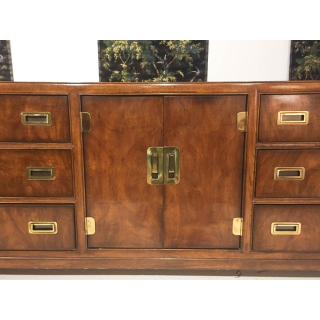 Mid-Century Modern Mid Century Signed Drexel Heritage Campaign Chest of Drawers For Sale - Image 3 of 10