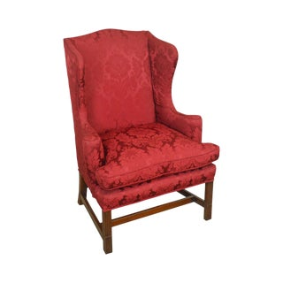 Kittinger Cw-12 Colonial Williamsburg Chippendale Style Mahogany Wing Chair For Sale