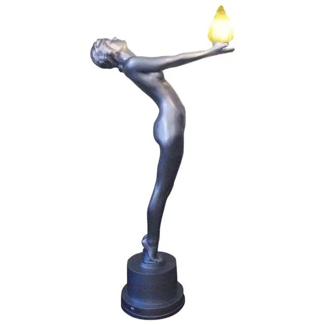 """6 Foot Art Deco """"Clarte"""" Biba Nude Floor Lamp in the Style of Max Le Verrier For Sale - Image 9 of 9"""