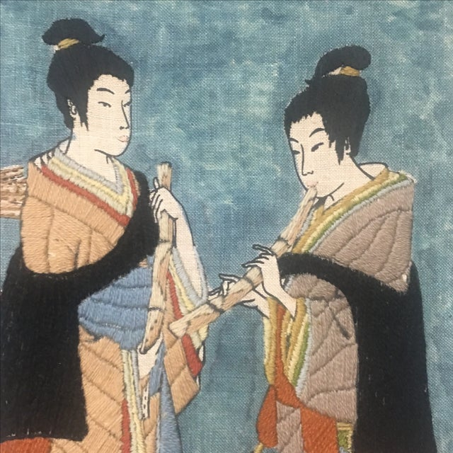 Asian Watercolor & Needlepoint Artwork - Image 5 of 8