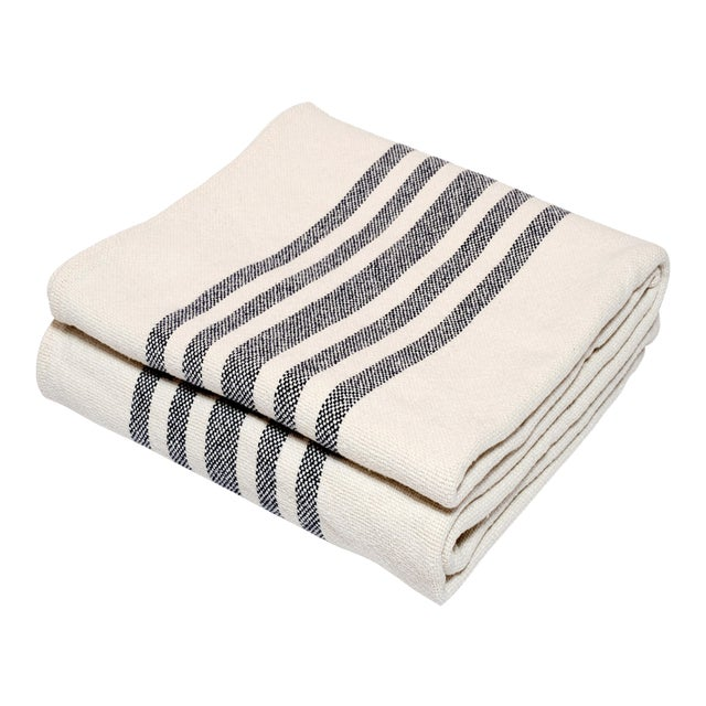 Contemporary Merino Wool Collection Indigo Stripe Throw For Sale