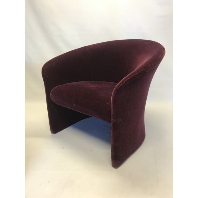 Dark Plum Mohair Club Chairs by Massimo Vignelli For Sale In San Francisco - Image 6 of 10
