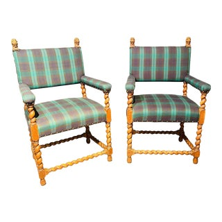 Gothic Lion Head and Spiral Posts Armchairs With Plaid Upholstery - a Pair For Sale