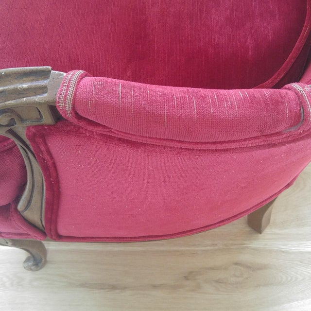 W & J Sloane French Provincial Raspberry Red Velvet Chairs - A Pair For Sale - Image 5 of 10