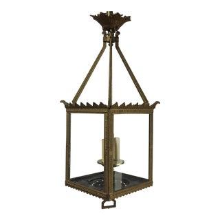 19th Century Brass Square Lantern For Sale