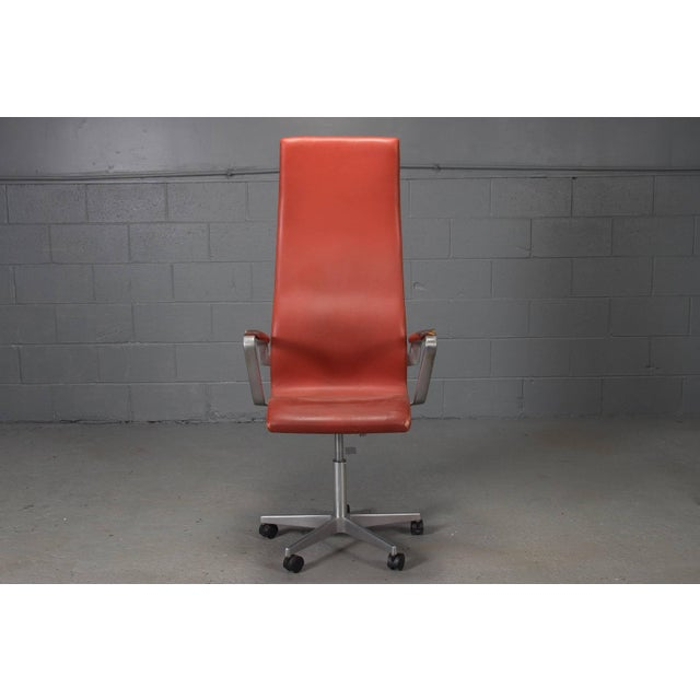 High Back Leather Oxford Desk Chair by Arne Jacobsen For Sale - Image 10 of 10