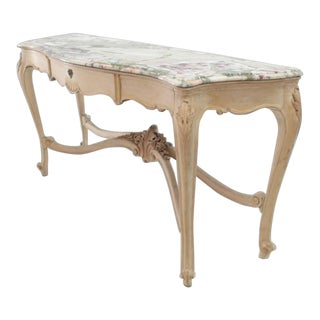 French Tall Bleached White Wash Painted Walnut Marble-Top Sideboard Console Table For Sale