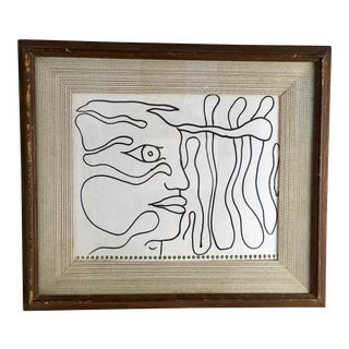 """Painting - Drawing """"Ritratto a Un Solo Tratto"""" by Enzio Wenk, 2001 For Sale"""