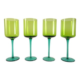 Mid-Century Peridot Green with Emerald Stem Wine Glass Goblets - Set of 4 For Sale