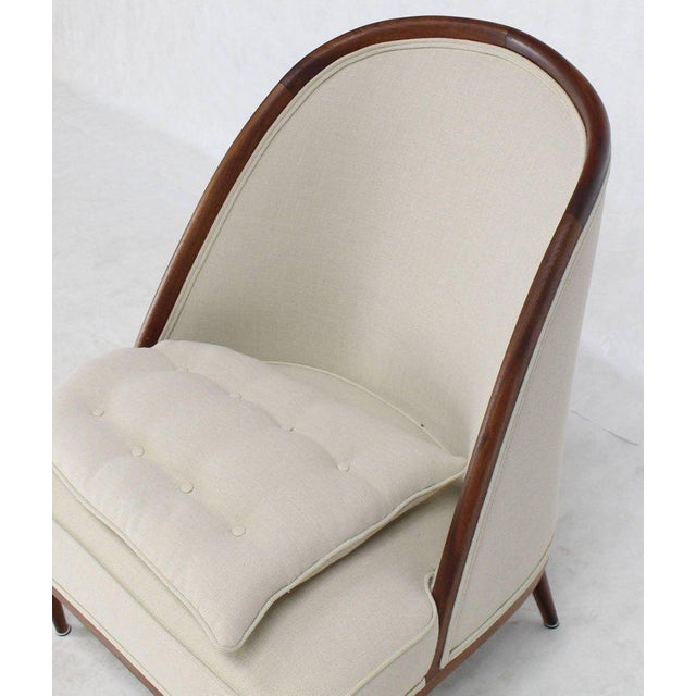 White Mid-Century Modern Oiled Walnut Frame Barrel Back Lounge Chairs For Sale - Image 8 of 10