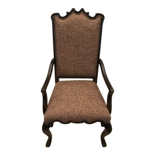 Hooker Furniture Tweed Upholstered Mahogany Dining Armchair For Sale
