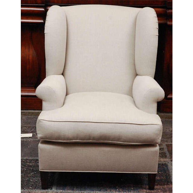 """Worrell"" by Lee Stanton English Wing Chair in Belgian Linen or Custom Fabric For Sale - Image 4 of 11"