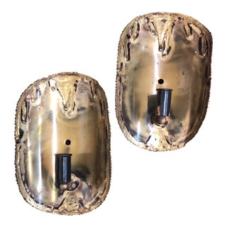1960s Brutalist Tom Greene for Feldman Brass Sconces - a Pair For Sale