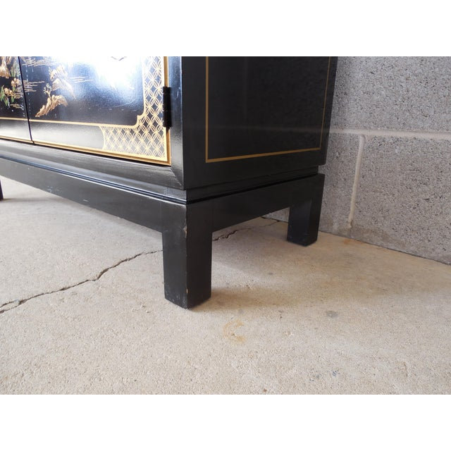 Drexel Et Cetera Black Lacquer Chinoiserie Decorated Console & Mirror For Sale - Image 10 of 12
