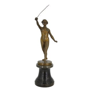 Bronze Girl with Sword Sculpture For Sale