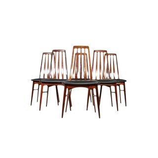 1960s Mid Century Danish Modern Niels Koefoed Rosewood Eva Dining Chairs - Set of 6