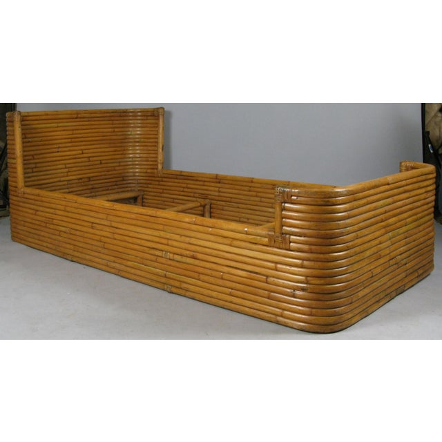 Wood 1940s Boho Chic Rattan Twin Bed With Curved Corners For Sale - Image 7 of 7