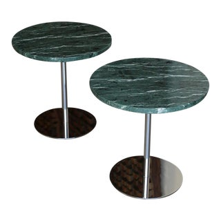 Mid Century Marble & Stainless Steel Side Tables - a Pair For Sale