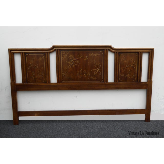 Vintage Drexel Heritage Mid-Century Modern Floral Chinoiserie King Headboard - Image 2 of 11