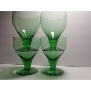 1960s Mid-Century Modern Green Coupe Cocktail Glasses - Set of 4 Preview