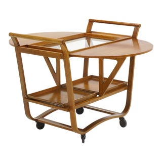 Edward Wormley for Dunbar Drop Leaf Serving or Bar Cart on Casters Original