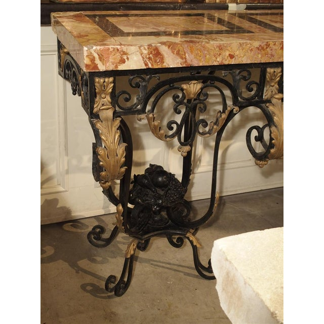 Art Deco 1920's French Forged Iron and Marble Console Table For Sale - Image 3 of 13