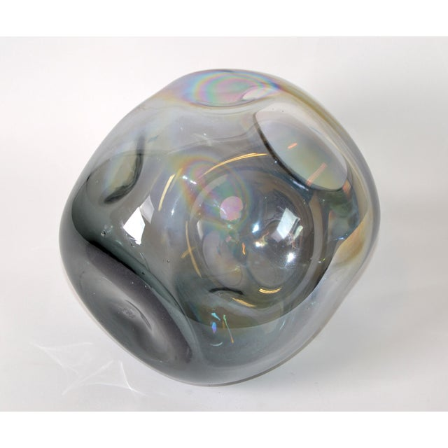 Glass Blown Smoked Glass Vase Mid-Century Modern With Mirror Coating & Round Indents For Sale - Image 7 of 13
