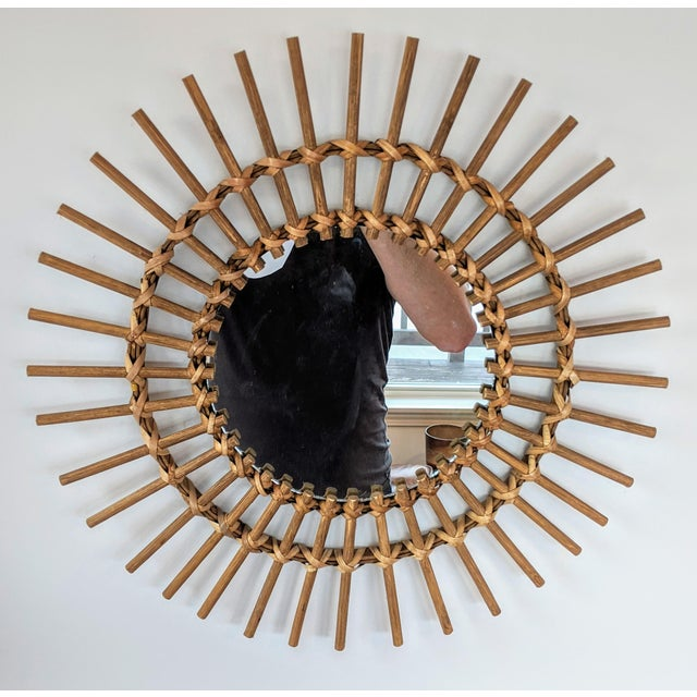 Wood Boho Chic Rattan and Wooden Starburst Mirror For Sale - Image 7 of 7